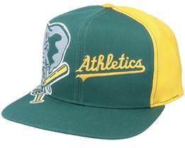 Oakland Athletics Big Logo MLB Vintage Green/Yellow Snapback - Twins Enterprise