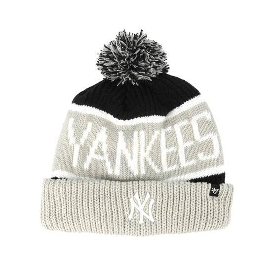 32084ff5f4e76 New York Yankees Calgarey Grey Black Pom - 47 Brand beanies -  Hatstoreaustralia.com
