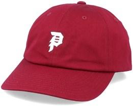 Core Mini Dirty P Dad Hat Burgundy/White Adjustable - Primitive Apparel