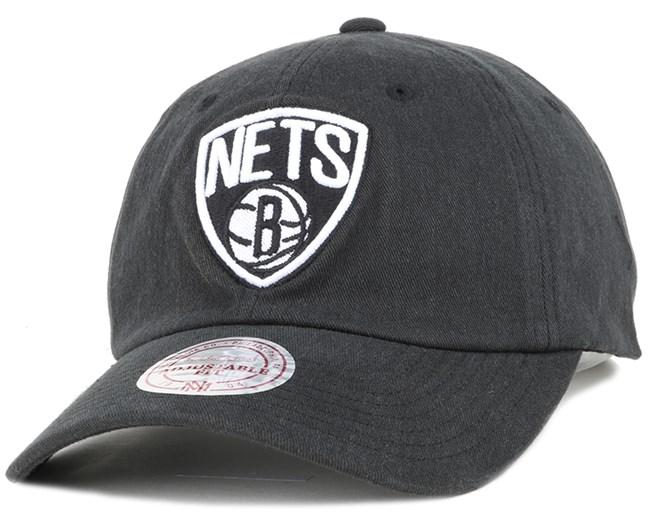 7113b1388ec Brooklyn Nets Washed Cotton 110 Black Adjustable - Mitchell   Ness ...