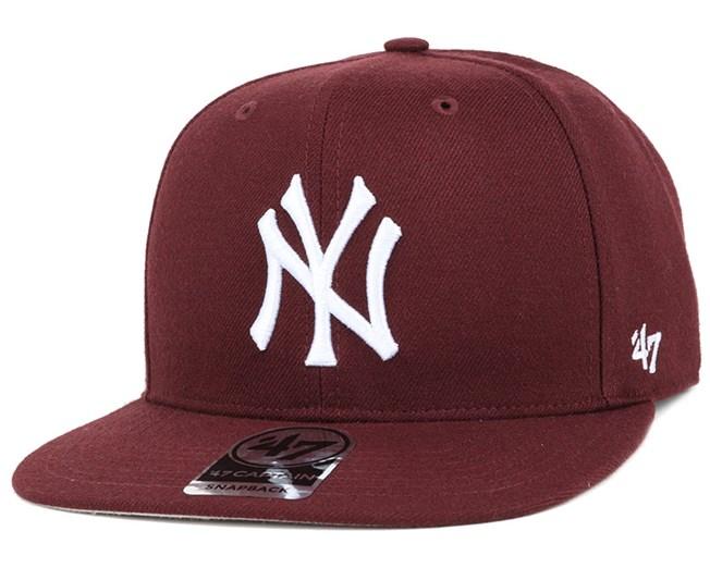 info for 06dd7 9468e NY Yankees No Shot Captain Dark Maroon White Snapback - 47 Brand