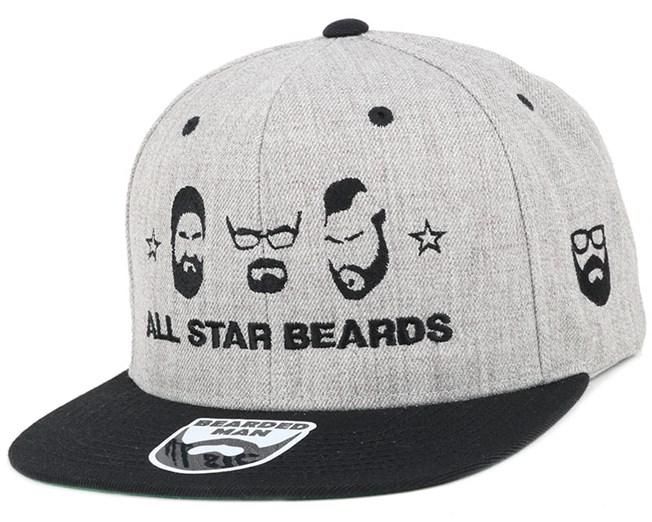 63a0d3c2962 All Star Beards Grey Black Snapback - Bearded Man caps - Bearded Man