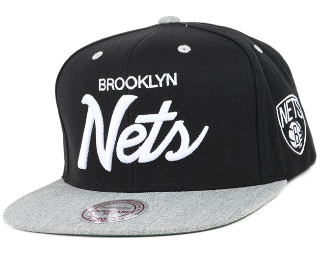 best sneakers 65b61 70cc8 Brooklyn Nets Heather Special Script Snapback - Mitchell   Ness
