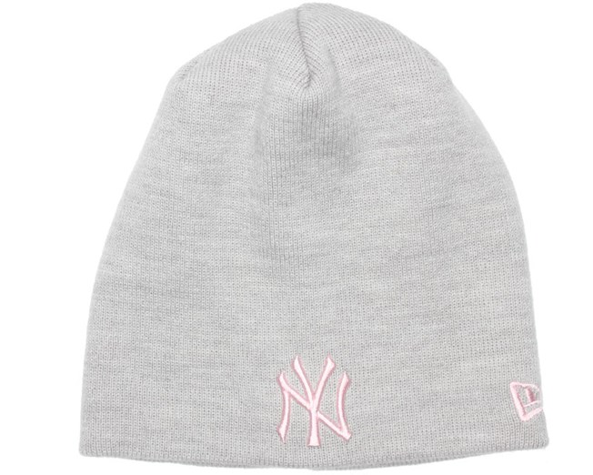 NY Yankees Skull Heather Grey Pink Woman Beanie - New Era beanies ... 311474aca588