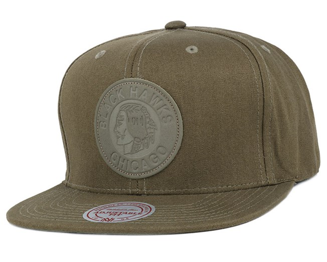 8e2c8ed78b30e Chicago Blackhawks Hot Stamp Olive Snapback - Mitchell   Ness caps ...