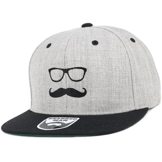 0b53f8b216f Mr. Mustache Grey Black Snapback - Bearded Man cap - Hatstore.co.in