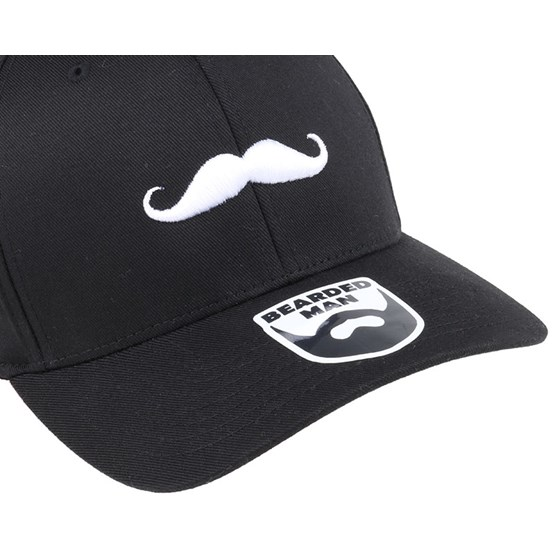 57d1ff922de Mustache Logo Black Flexfit - Bearded Man caps - Hatstoreworld.com