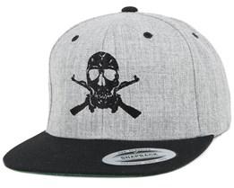 AK-Skull Black/Grey Snapback - GUNS n SKULLS