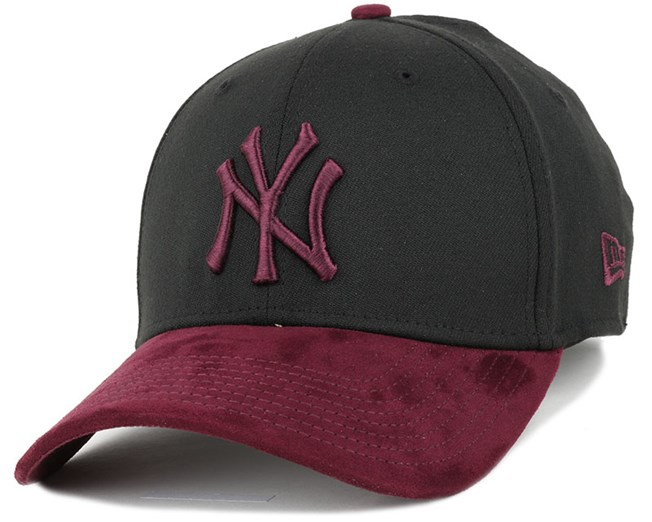 5e784fe1aaf3f2 NY Yankees Poly Suede Mix Black/Maroon 39Thirty Flexfit - New Era ...