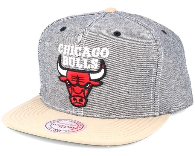 d2f40dfeec2e5 Chicago Bulls Denim Khaki Snapback - Mitchell   Ness - Start Gorra ...