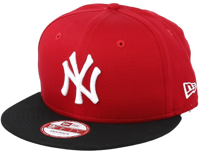 NY Yankees MLB Cotton Block Scarlet Black 9fifty - New Era caps ... 4cf0b13cf1d0