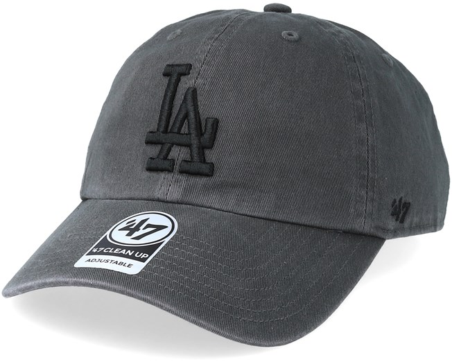 ce84ff5058c03 Los Angeles Dodgers Clean Up Charcoal Black Adjustable - 47 Brand cap -  Hatstore.co.in