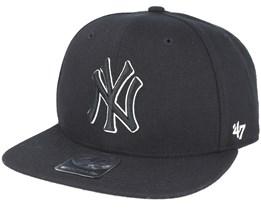 New York Yankees Sure Shot Captain Black Snapback - 47 Brand