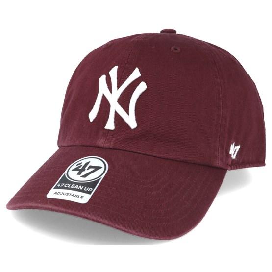 7973b9595 New York Yankees `47 Clean Up Maroon Red Adjustable - 47 Brand caps ...