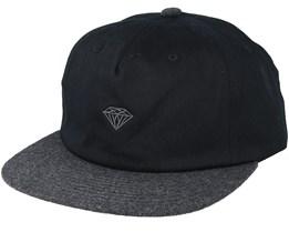 Micro Brilliant 2 Tone Black/Black Strapback - Diamond