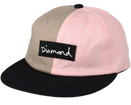Split Script Uc 6 Panel Pink Strapback - Diamond