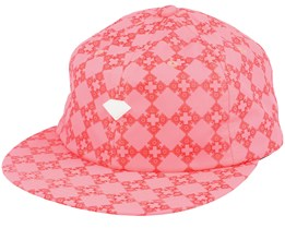 Brilliant Checkered Cross Unstructured 6-Panel Coral Pink Snapback - Diamond