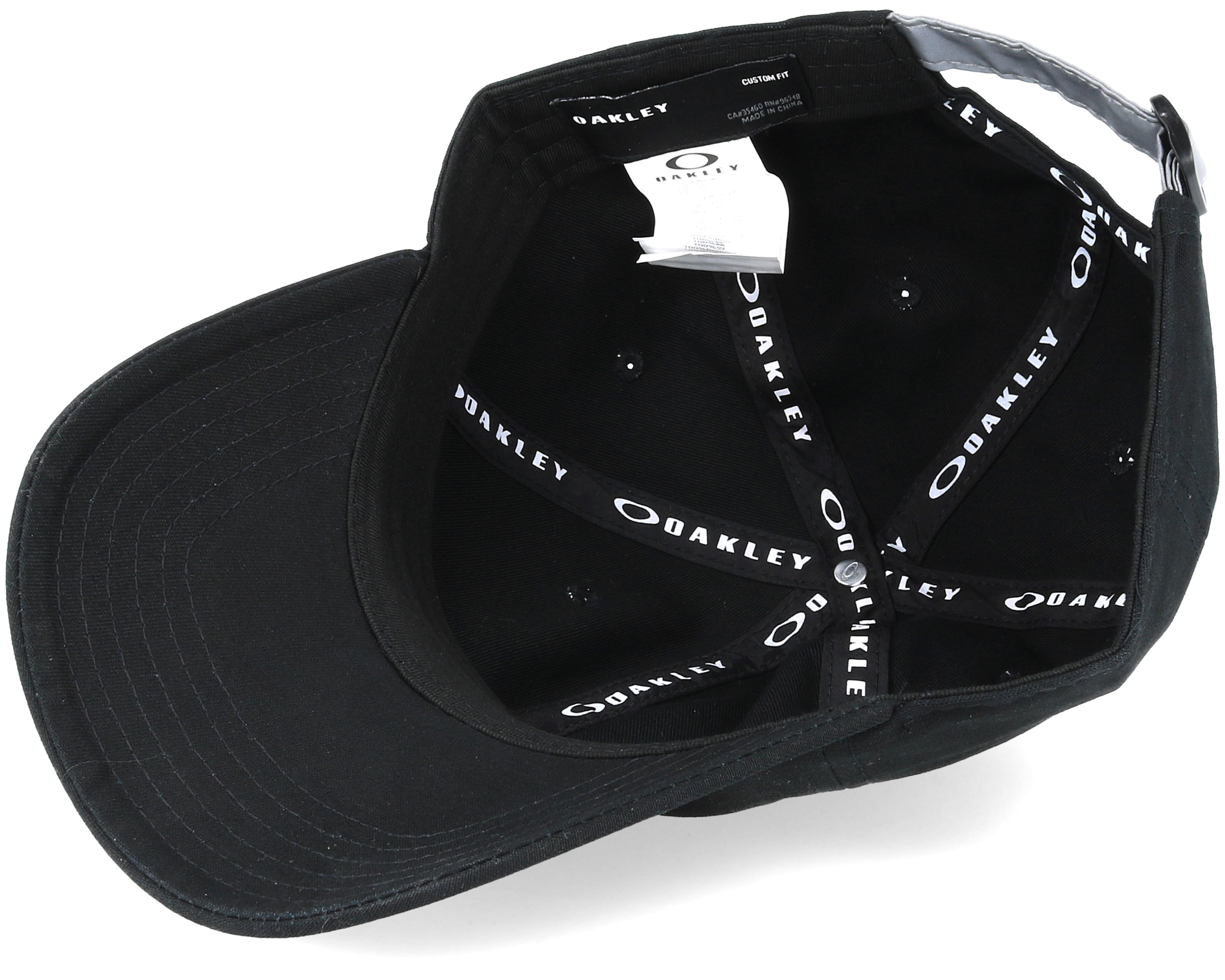 Reflective 6 Panel Black Adjustable Oakley Caps
