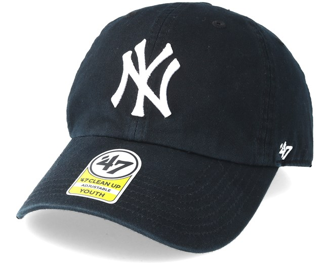 81b9473cadbb7 Kids New York Yankees Youth Clean Up Black Adjustable - 47 Brand caps -  Hatstoreworld.com