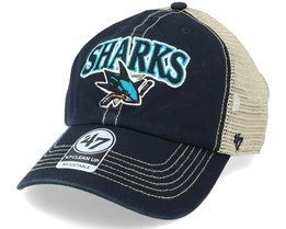 San Jose Sharks Tuscaloosa Clean Up Dad Cap Vintage Black/Beige Trucker - 47 Brand