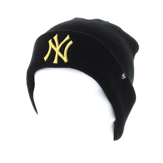 06f4327e702 New York Yankees Metallic Black Gold Cuff - 47 Brand beanie - Hatstore.co.in