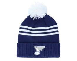 St. Louis Blues 3-Stripe Cuffed Dark Blue Pom - Adidas