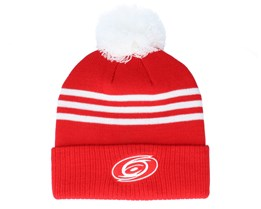 Carolina Hurricanes 3-Stripe Cuffed Red Pom - Adidas
