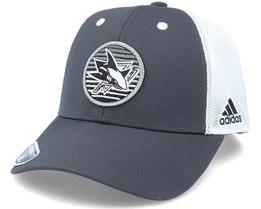 San Jose Sharks Mesh Carbon/White Trucker - Adidas