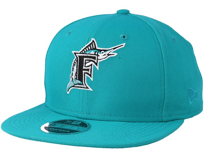 9dc4d20d7ce41 Florida Marlins Coast 2 Coast 9Fifty Teal Snapback - New Era caps -  Hatstoreworld.com