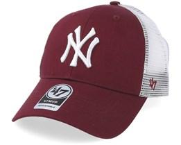New York Yankees Branson Mesh Dark Maroon Trucker - 47 Brand