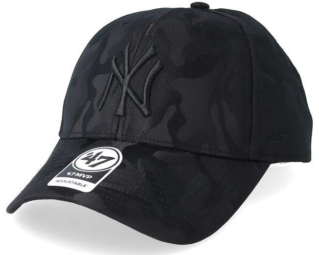77fe10f1350 New York Yankees Jigsaw Black Black Camo Adjustable - 47 Brand caps -  Hatstoreworld.com