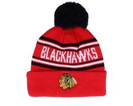 Chicago Blackhawks Jacquard cuffed knit Red/Black Pom - Outerstuff