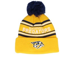 Nashville Predators Jacquard cuffed knit Yellow/Navy Pom - Outerstuff