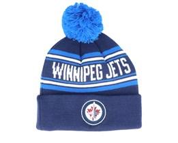 Winnipeg Jets Jacquard cuffed knit Navy/Blue Pom - Outerstuff