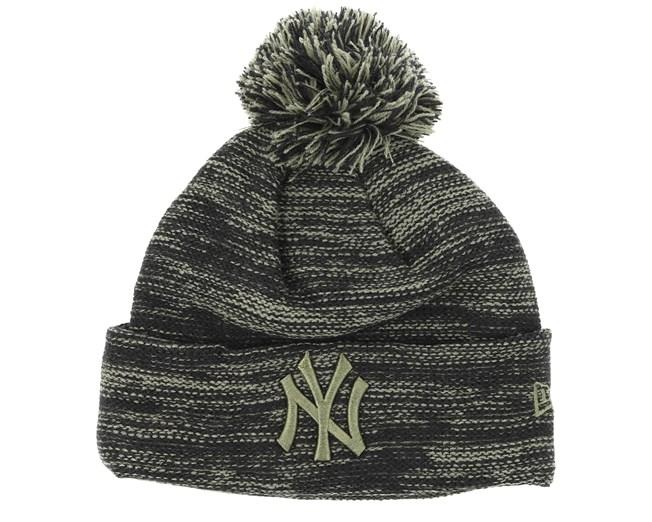 New York Yankees Marl Knit Grey Black Beanie - New Era beanies ... 4c2de9e8996