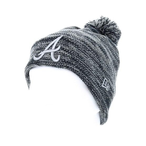 98afb2a7a9b04 Atlanta Braves Marl Knit Grey/Black Pom - New Era beanies   Hatstore.co.uk