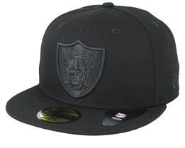 Oakland Raiders Feather Perf 59Fifty Black/Black Fitted - New Era