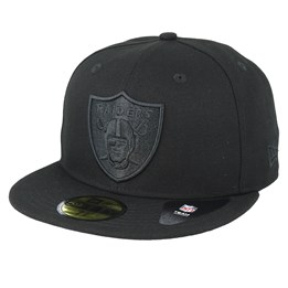 new style 8cbc1 d0cef New Era Oakland Raiders Feather Perf 59Fifty Black Black Fitted - New Era  £44.99