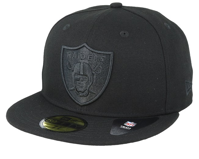 super popular aea1f 94655 Oakland Raiders Feather Perf 59Fifty Black Black Fitted - New Era