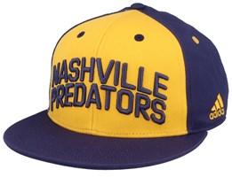 Nashville Predators Flat Brim Yellow/Navy Snapback - Adidas