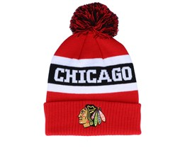 Chicago Blackhawks Cuffed Knit Red/Black Pom - Adidas