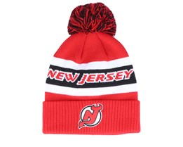 New Jersey Devils Cuffed Knit Red/Black Pom - Adidas