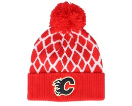 Calgary Flames Culture Cuffed Knit Red Pom - Adidas