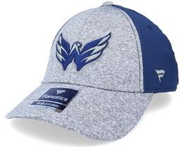 Washington Capitals Primary Logo Marled Tech Velcro Sports Heather Grey/Navy Adjustable - Fanatics