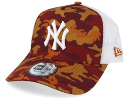 New York Yankees Red and Orange Camo/White Trucker - New Era