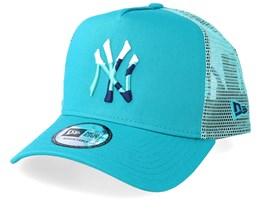 New York Yankees Camo Infill Teal Trucker - New Era