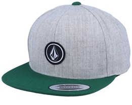 Quarter Twill Heather Grey/Green Snapback - Volcom