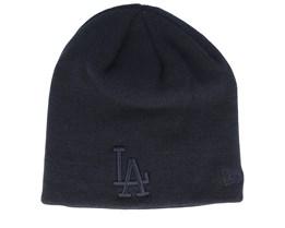 Los Angeles Dodgers Dark Base Skull Black/Black Traditional Beanie - New Era