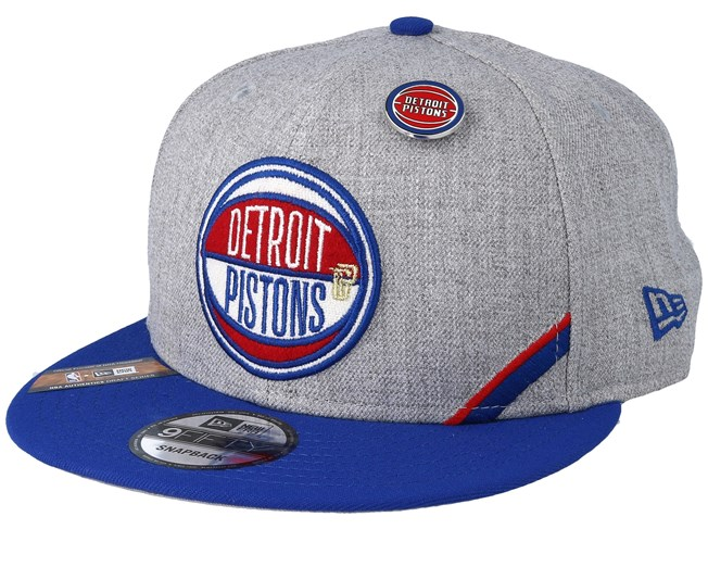 size 40 5497f 3e073 Detroit Pistons 19 NBA 9Fifty Draft Heather Grey Royal Snapback - New Era
