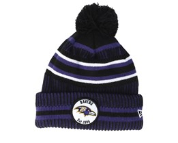 Baltimore Ravens On Field 19 Sport Knit 2 Black/Purple Pom - New Era